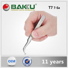 BK T7 7-SA BaKu Anti-Magnetic Anti-Acid Not-Corrosive Precision Widely Useful Tweezers Stainless Curved Tip Tweezers