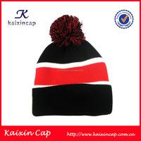 Customized jacquard winter ski pom knitted beanie hat