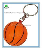 hot selling promotional gift 4cm PU stress basketball keyring/bulk PU material basketball keyring/kids PU basketball keyring
