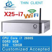 Fan Design Intel Core i7 X25-I7 2600s 8G/128G Window 8.1/7/Linux/Xp PC BOX Desktop Keyboard Mouse Computer