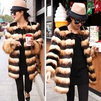 Cute Long Bee Strip Winter Fur girls Overcoat