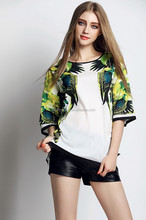 wholesale fashion parrot printing women O-neck t-shirt