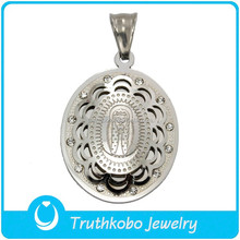 TKB-P0655 Laser Etched Medal Pendant Christian Religious Rhinestone Virgin Mary Decoration Pendant