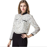 AR074 2015 wholesale long sleeve women chiffon tops fashion printed stand collar tops ladies blouses