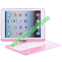 360 Degree Rotatable Pink Bluetooth Keyboard for iPad Air with Magnetic Hinge