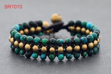 Personality Chrysocolla Beads Around Wrap Bracelets Thai Style Brasss Bell Handmade Vintage Jewelry Wholesale For Men