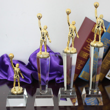Pujiang handmade crystal sports trophies with basketball