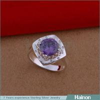 Stylish European Design Silver Plating Hot Sale Engagement Square Cubic Diamond Ring