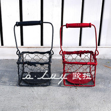 square metal baskets with wooden handle