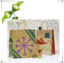 new style christmas paper bags/Xmas gift bags with cotton handle