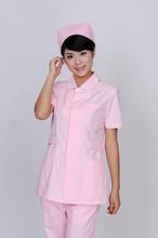 2015 New Design 100% Cotton V- Neck Pink Nurse Suit For Summer