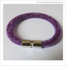 new arrival stainless steel magnet locket purple resin bracelet