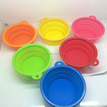 Bright color Portable Silicone Collapsible Travel Dog Cat Feeding Bowl