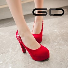 2015 newest design sexy red color mature sexy women high heel dress shoes for party