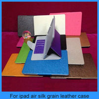For ipad 5 ipad Air Silk Grain Leather Wallet Smart Flip Case Cover For New Apple iPad Air