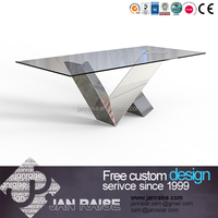 Customed size modern glass dining table set