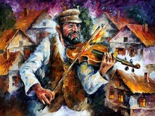 Most Impress Violin Artist On Knife Oil Painting On Canvas