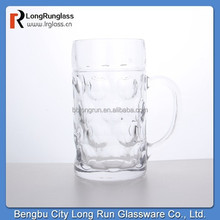 LongRun popular and fashional 1L beer glass mug with cover carved pattern glassware wholesale