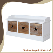 Indoor Sitting wooden storage bench seat with wooden drawers