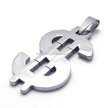 High Polished Men's Stainless Steel US Dollar Sign Pendant With Bail Ring