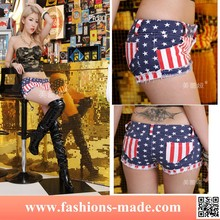 Sexy Girl American USA Flag Mini Jeans Shorts