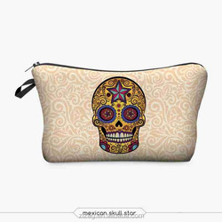 2015 New style 3D Mexican Skull Star Polyester Female Cosmetic Case Orange Flower Printing Make Up Bag