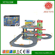 2015 New product parking lot toys for child with 4 PCS alloy sliding car