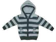 skin-friendly rib knitting hem cotton hoodie cardigan baby sweater design with stripe