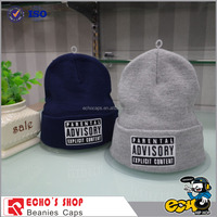 In Stock Fashion Unisex Men Women Winter Cotton/Polyester Beanie Hats Black Gray Navy