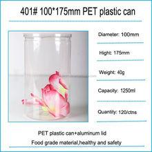 250ml Hot sealing aluminum lid new food grade plastic easy open PET can