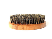 100% Boar Hair Bristle Beard Brush: Military Round Bamboo for Men Brush Strokes.