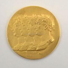 24 KT GOLD PLATED LARGE ROMAN KING MOUNT ORMOLU GILD NEOCLASSICAL FURNITURE HARDWARE