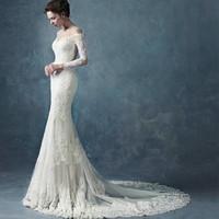 2015 Hot Selling Off The Shoulder Long Sleeve Court Train Lace Muslim Mermaid Wedding Dress