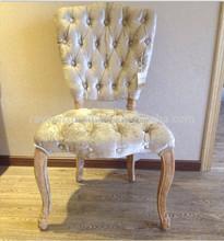 Solid oak button tufted high back velvet dining chair
