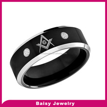 Black Silver Masonic Rings for Men Freemasonry Party Rings 316L Stainless Steel Jewelry