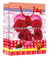 wedding Bags ,2014 the rose design ,red color for paper gift bags