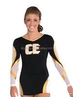 Supply dyed Metallic matt lycra cheerleading rhinestons dress leotards