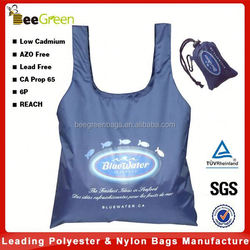 Integrated pouch design 190T polyester bag shopping, recycled shopping bag with logo