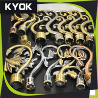 KYOK home decoration garden style curtain finial, chinese wholesale wought iron curtain rod , curtain rods leaf finial