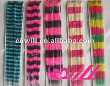 synthetic zebra hair extension clip in feather hair extensions strip hair extension