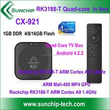 SUNCHIP CX-921 Android 4.4 / RK3188-T Quad Core ARM A9 TV Box 1GB /8GB Wifi HDMI