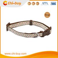 Beige Base+Pink Dot Fabric+Browhn Bottom Pet Supplies Small Dog Collar