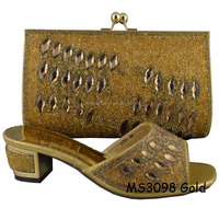 MS3098 gold women summer shoes with stone 2015 high quality shoe and bag set fashion heel