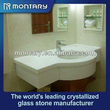 Super branco polido cristal artificial de vidro do banheiro contador top