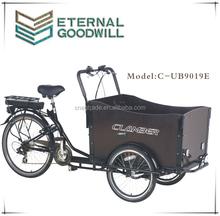 CE three wheels bicycle 6speeds cargo bikes 36V 9Ah bisiklet family electric cargo bike/cargobike/bakfiets UB9019E trikes