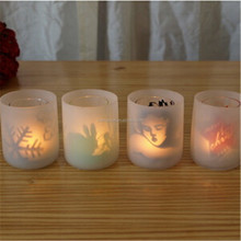 hot sale double wall Frosted tealight holder wine glass cup tealight