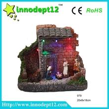 Antique Resin nativity house scene figurines set with led lights, B/O