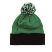 High Quality Cheap Blank Two Tone Beanie Hats with Top Ball/Custom Two Tone Beanie Hats