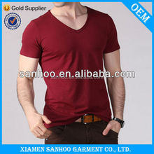 Classic V Neck Custom Made T-Shirt Blank Muscle Fitting Fashion Hot Sale