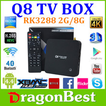 Best price Q8 Android TV box RK3288 Cor tex-A17 Quad Core 1.8Ghz ,2G/8G XBMC Media Player with Antenna 2.4G+5G Dual band